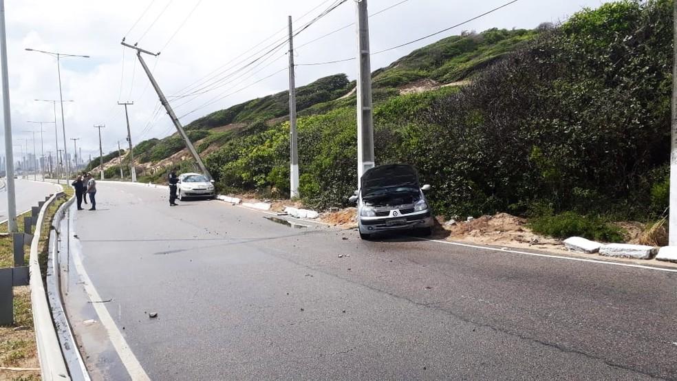 colisão aconteceu próximo ao Wish Natal Resort, no sentido Mãe Luíza-Ponta Negra — Foto: Marksuel Figueredo/Inter TV Cabugi