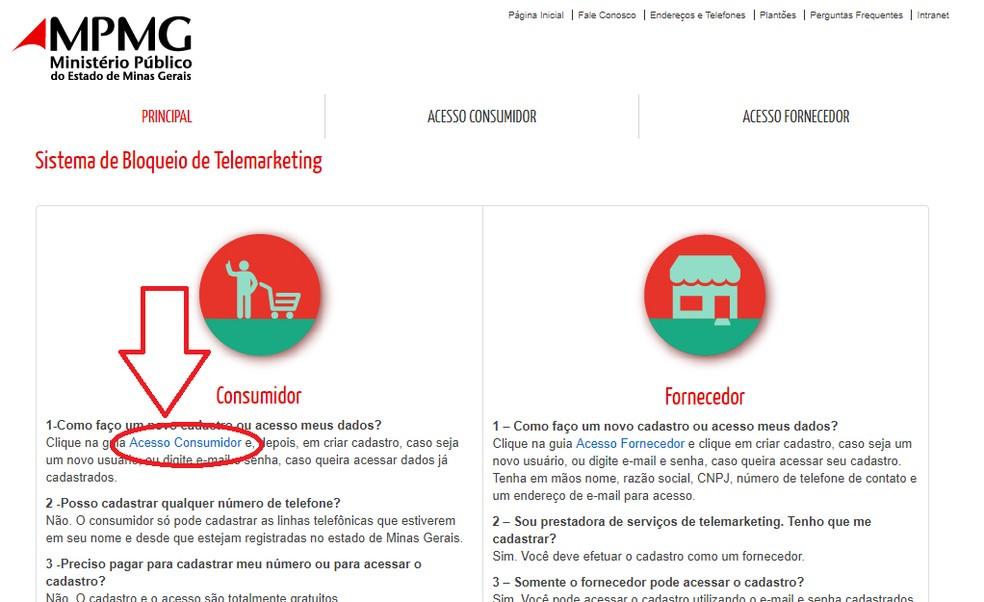 """Clique no """"Acesso Consumidor"""" para iniciar o processo  — Foto: Reprodução/Júlio César"""
