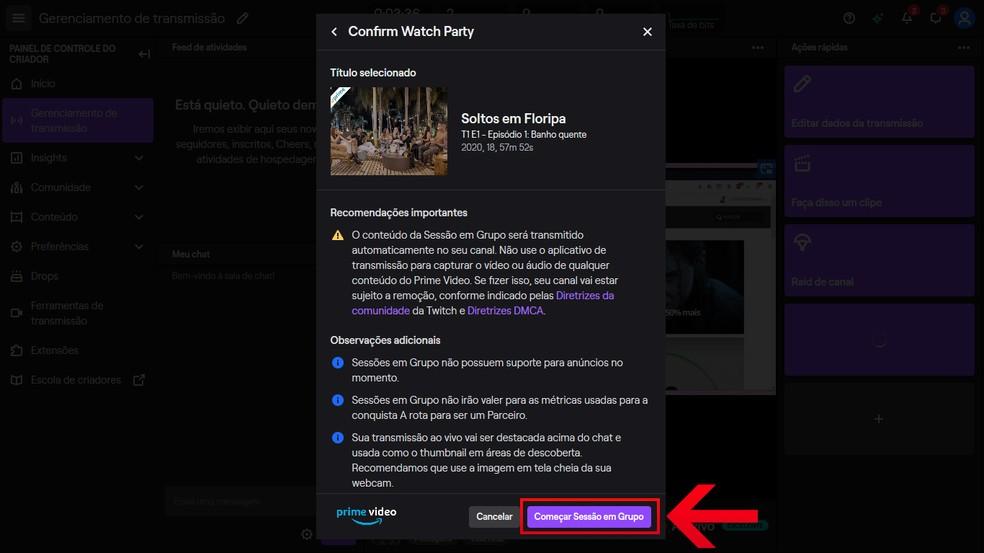 """Veja as recomendações e clique em """"Começar Sessão em Grupo""""; — Foto: Reprodução/Leandro Eduardo"""