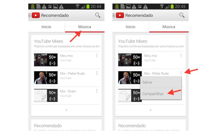 Acessando a ferramenta de compartilhamento de YouTube Mixes em um dispositivo Android (Foto: Reprodução/Marvin Costa)