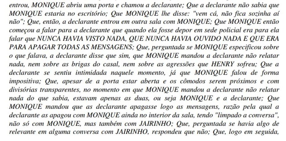 Babá Thainá disse que a mãe de Henry pediu que ela mentisse em depoimento — Foto: Reprodução / TV Globo