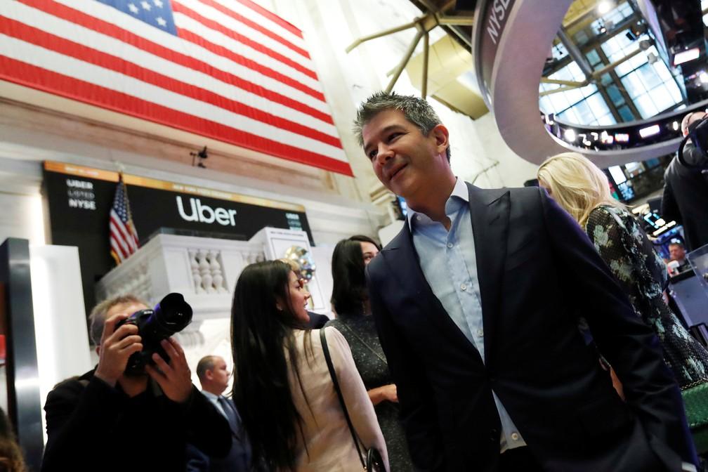 Ex-presidente e fundador da Uber, Travis Kalanick, que deixou a empresa após escândalos, compareceu à estreia na bolsa — Foto: Andrew Kelly/Reuters