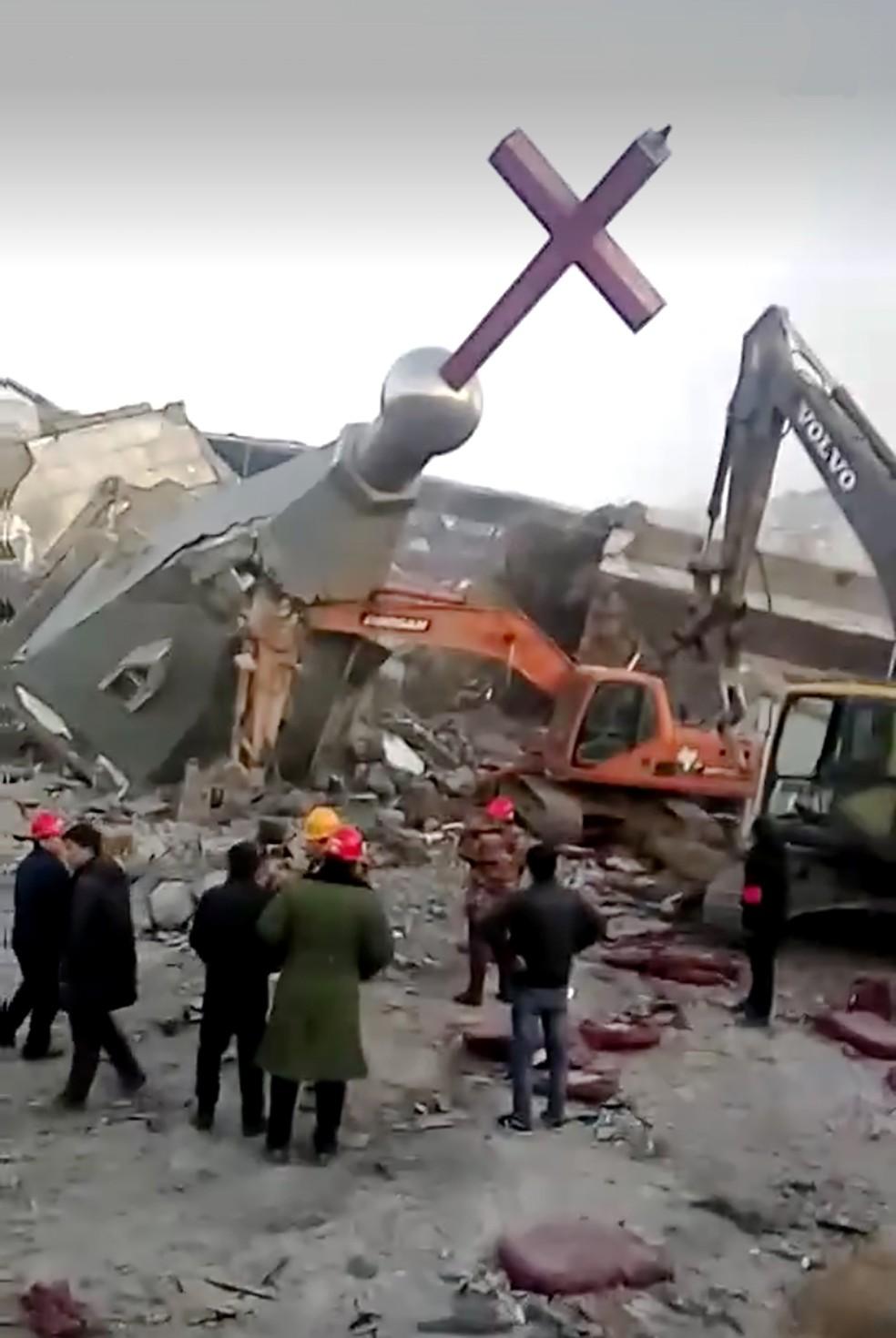 -  A Igreja evangélica Jindengtai foi demolida por autoridades chinesas  Foto: China Aid Association/AFP