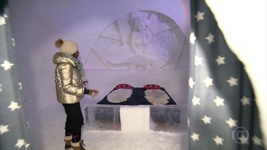 Glória Maria vive uma fria em hotel de gelo da Noruega
