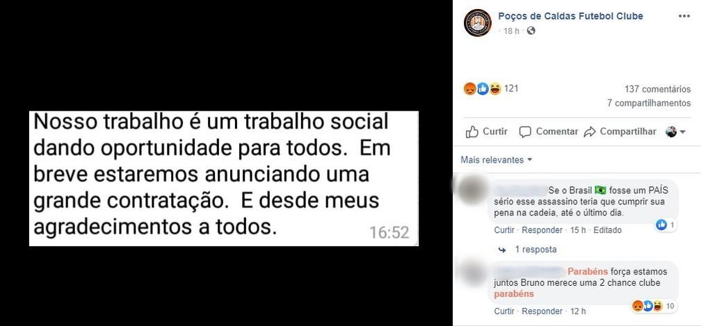 Pouso Alegre FC posta mensagem enigmática nas redes sociais — Foto: Reprodução Facebook