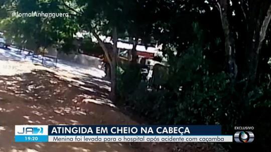 Vídeo mostra quando tampa de caminhão abre antes de atingir criança, em Aparecida de Goiânia