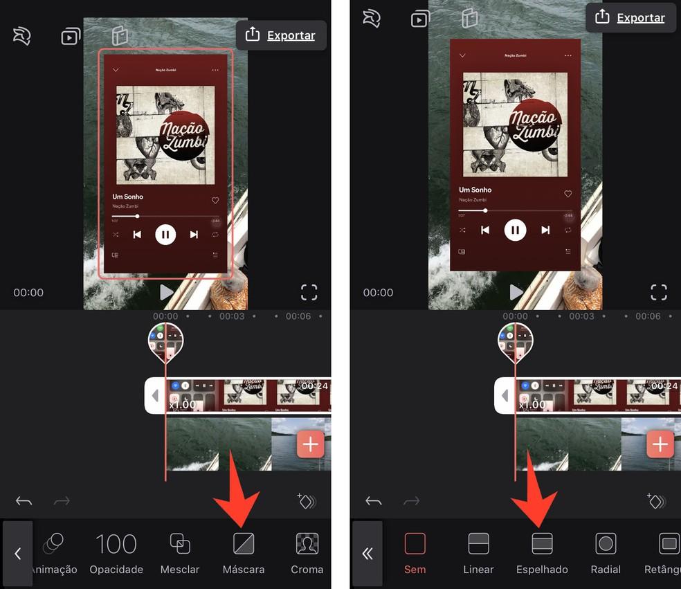 Editando o vídeo no app Videoleap — Foto: Reprodução/Rodrigo Fernandes