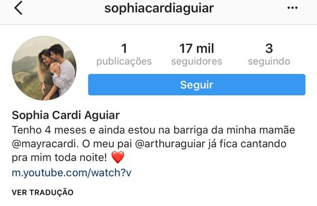 Mayra Cardi e Arthur Aguiar criam perfil na web para a filha (Foto: Reprodução/Instagram)