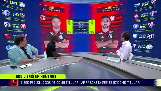 """Troca de Passes compara números de Diego e Arrascaeta; Grafite diz: """"Não acho que disputam posição"""""""