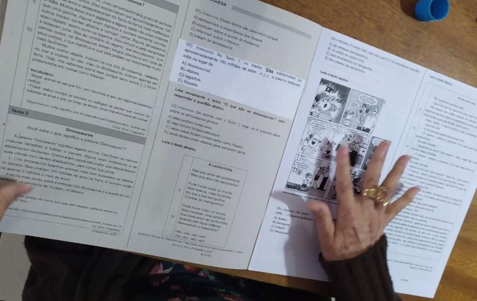 Erratas nos cadernos da Prova Paraná foram encaminhadas para as escolas na segunda-feira (10) — Foto: RPC/Reprodução