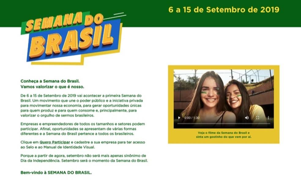 Site da campanha de promoções Semana do Brasil — Foto: Reprodução/Marvin Costa