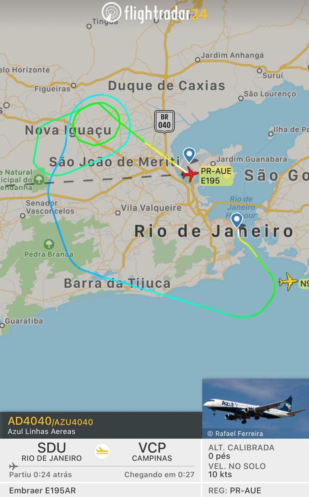 Avião que saía do Rio a caminho de Campinas precisa fazer pouso de emergência — Foto: Reprodução