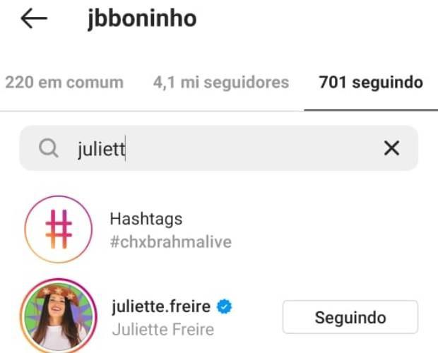 Boninho volta a seguir Juliette (Foto: Reprodução/Instagram)