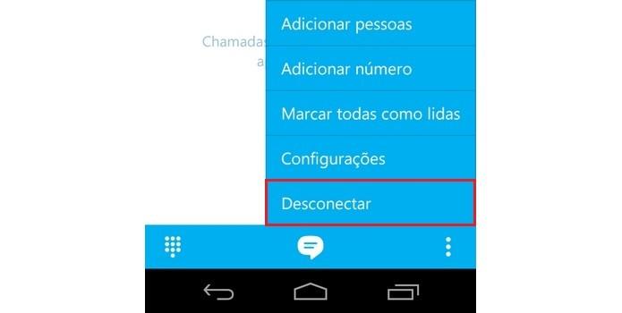 Opção Desconectar em destaque no menu do Skype (Foto: Reprodução/ Raquel Freire)