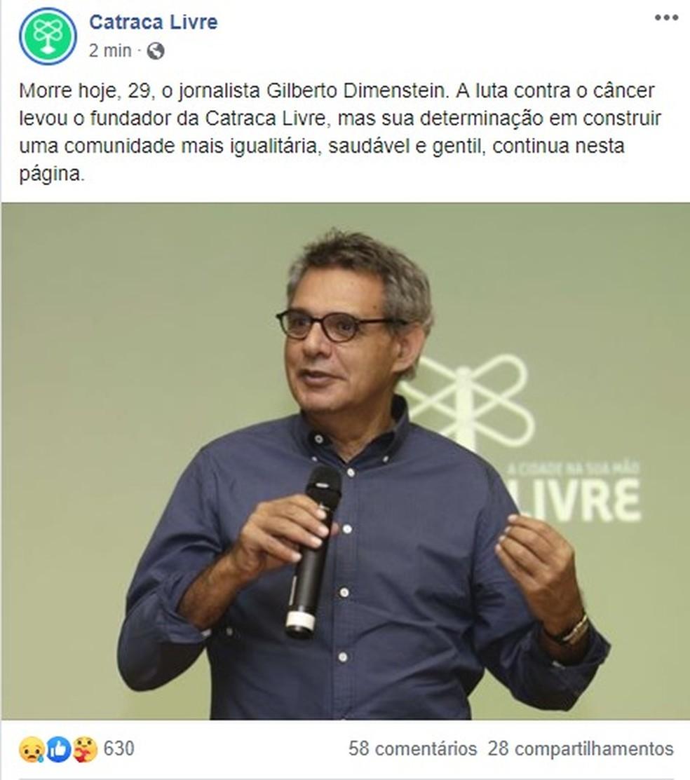 Catraca Livre confirma, nas redes sociais, morte do fundador — Foto: Reprodução