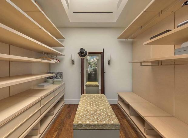 A suíte principal possui closet (Foto: Douglas Elliman/ Reprodução)