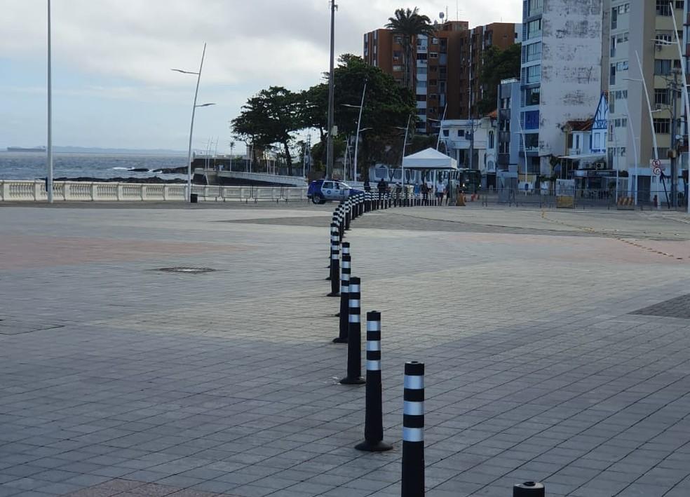 Novas medidas restritivas no trecho entre o Farol da Barra e o Barra Center, serão implementadas no bairro da Barra — Foto: Camila Marinho