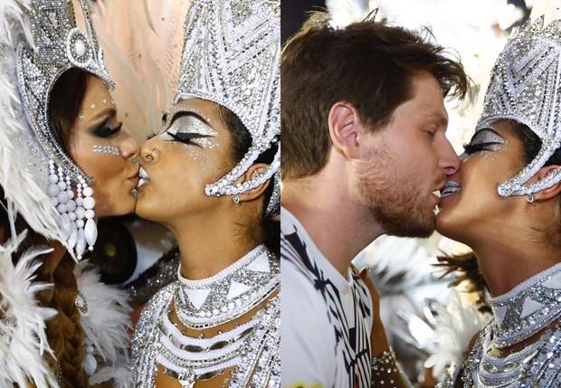 Amanda Djehdian beija Fernanda Lacerda e Mateus Hoffman (Foto: Eduardo Saraiva/Ed. Globo)