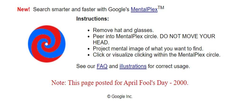 Tecnologia fake Mentalplex está entre brincadeiras escondidas no Google — Foto: Reprodução/Google