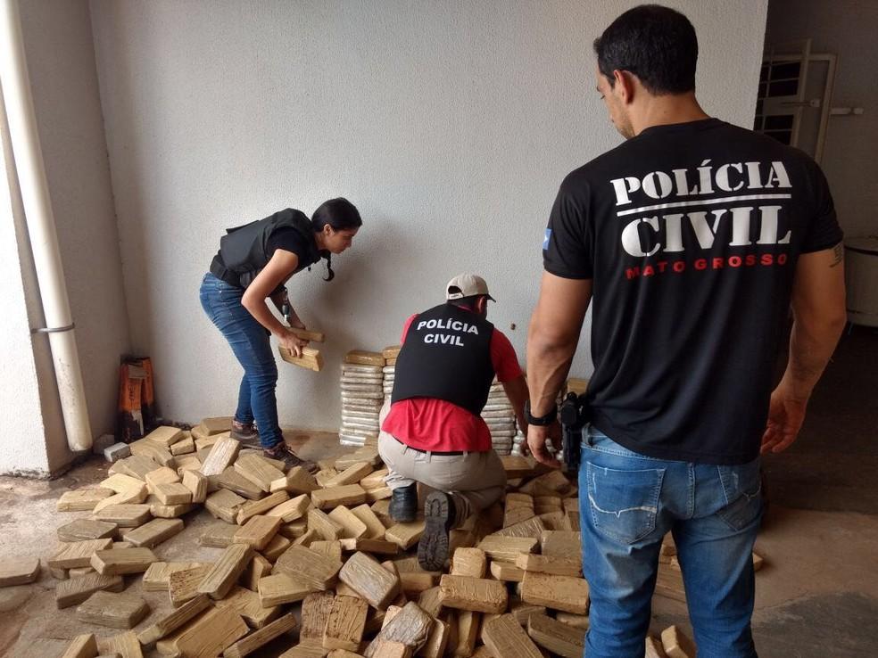 -  Droga apreendida durante a operação seria levada para São Paulo, diz polícia  Foto: Polícia Civil de MT/Divulgação