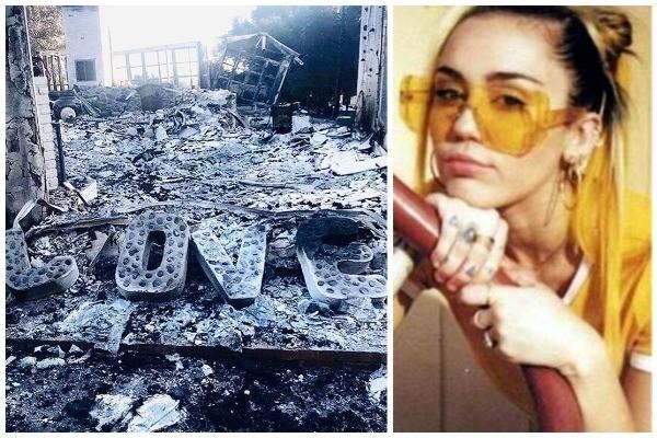 Miley Cyrus e sua casa incendiada (Foto: Instagram)