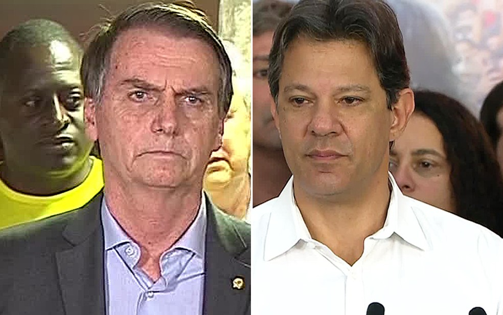 Bolsonaro e Haddad — Foto: Reprodução/TV Globo
