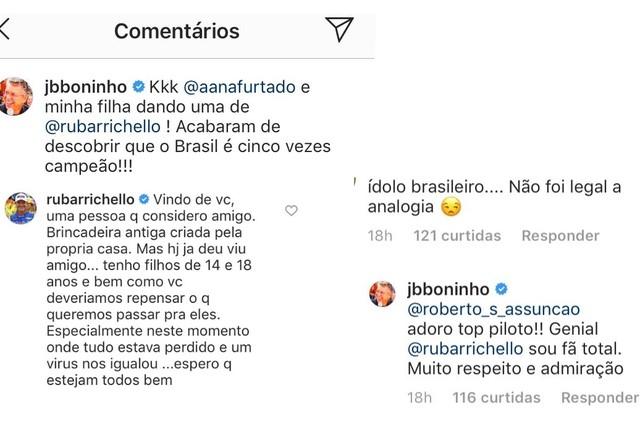 Boninho e Rubens Barrichello no Instagram (Foto: Reprodução)