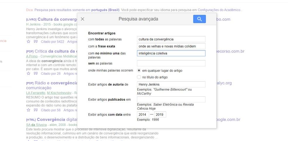 Pesquisa avançada do Google Acadêmico — Foto: Reprodução/Ana Letícia Loubak