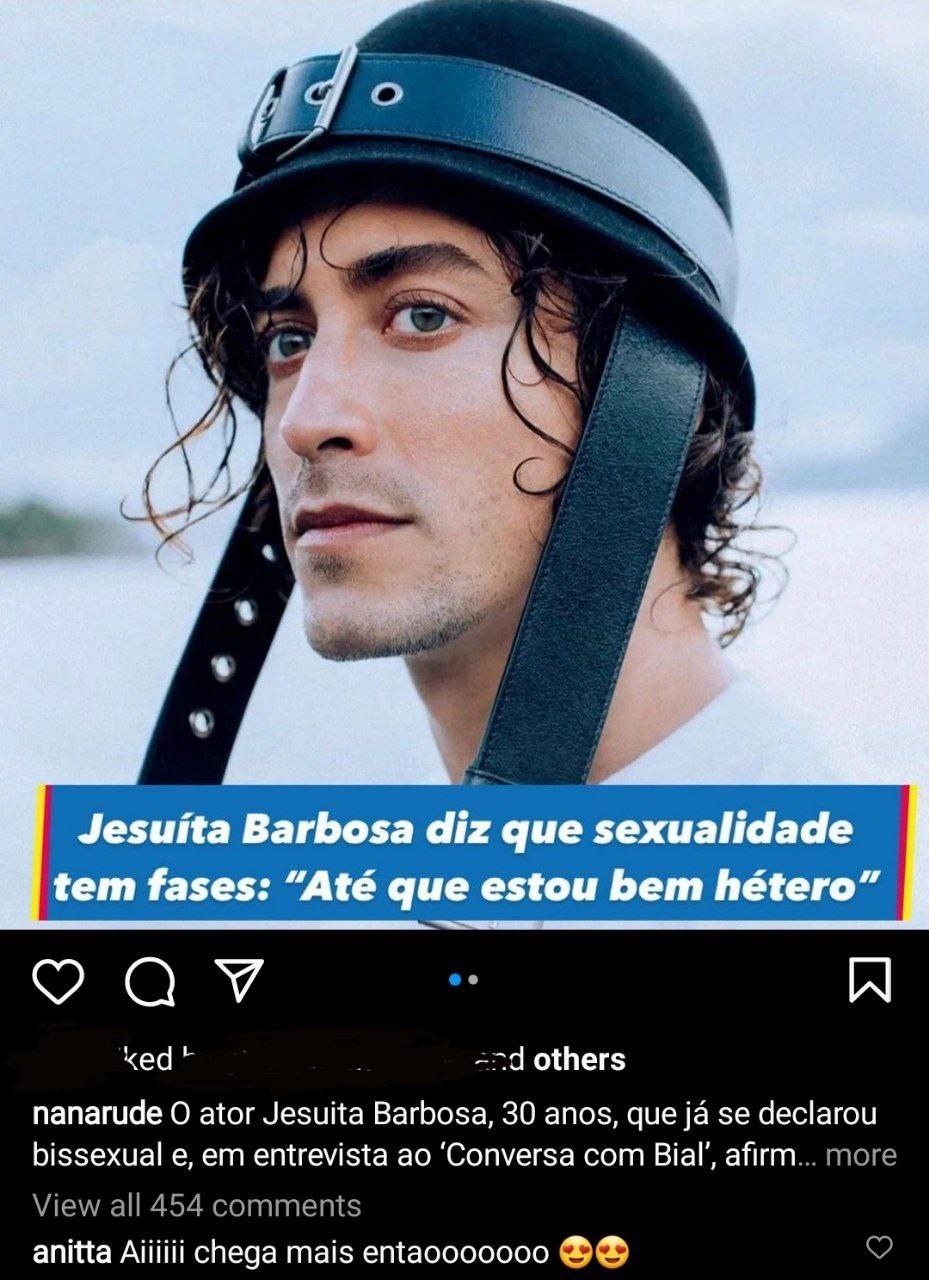Anitta manda recado após fala de Jesuíta Barbosa sobre bissexualidade (Foto: Reprodução/Instagram)
