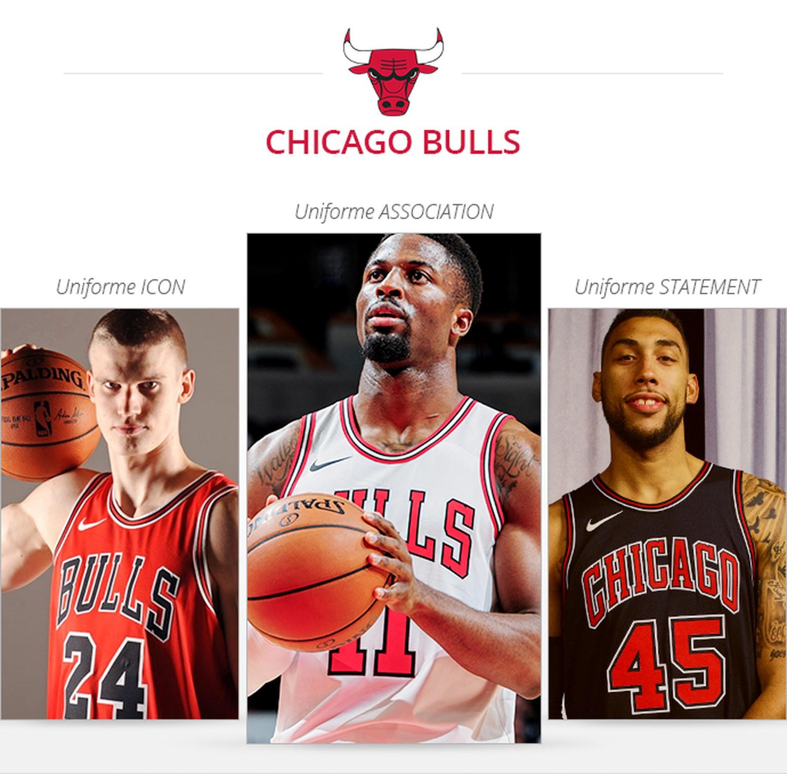 Uniformes Chicago Bulls pour la saison 2017/18