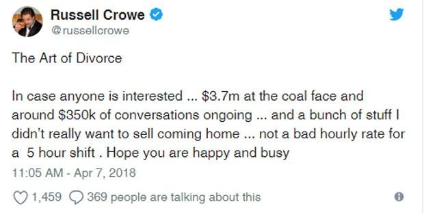 O recado de Russell Crowe no Facebook (Foto: Reprodução Facebook)