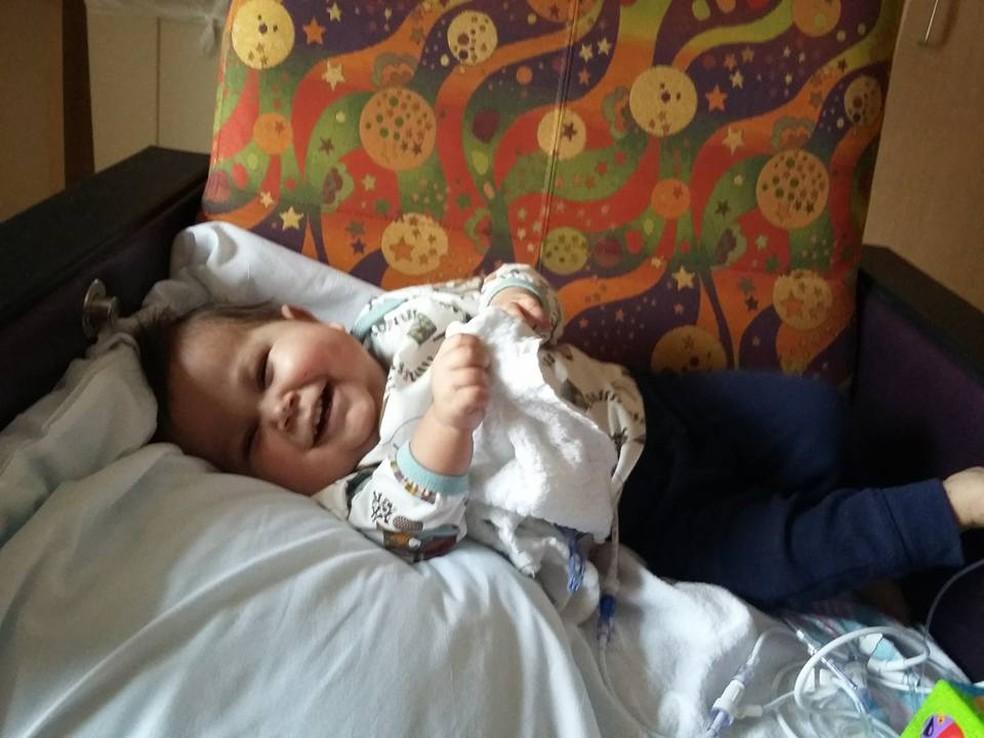 Davi Miguel viajou aos EUA em 2015 para transplante de intestino — Foto: Divulgação/Arquivo Pessoal