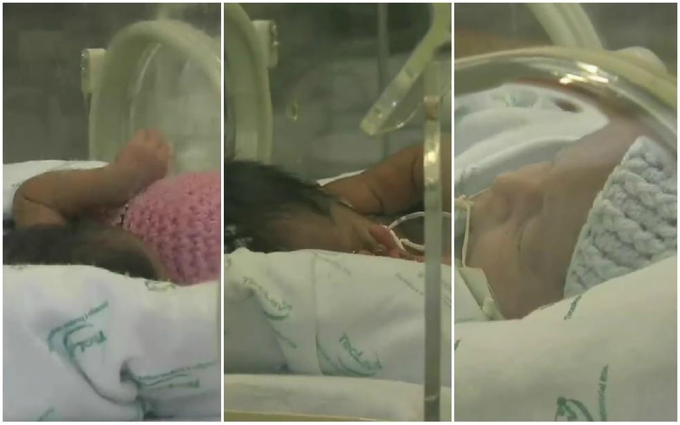 Mãe afirma que tem dificuldade para amamentar as três crianças (Foto: TV Verdes Mares/Reprodução)