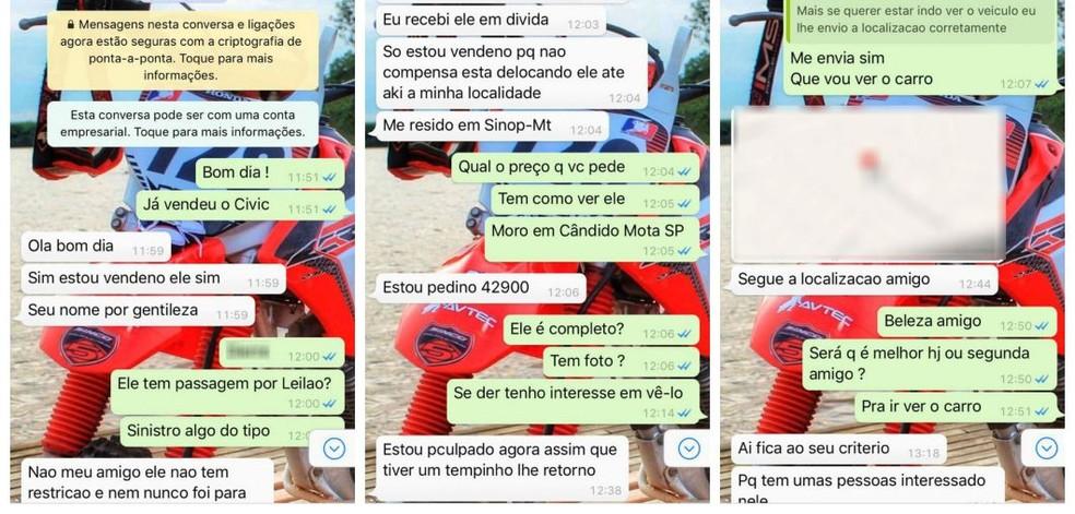 Mensagens trocadas pelo casal com o suposto vendedor (Foto: Arquivo Pessoal)