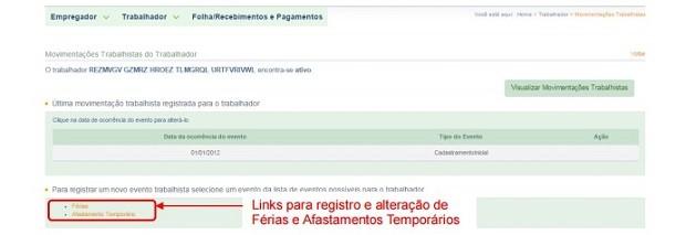 Página para informar afastamentos temporários do empregado (Foto: Reprodução)