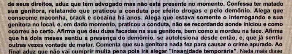 Homem diz que 'demônio' o levou a matar mãe a facadas e alega 'insanidade temporária'  (Foto: Polícia Civil/Divulgação)