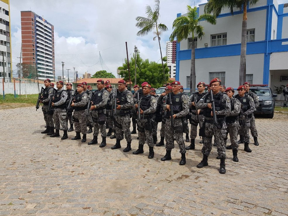 Equipes da Força Nacional foram enviadas à capital potiguar para cobrir a ausência de policiamento ostensivo (Foto: PM/Divulgação)