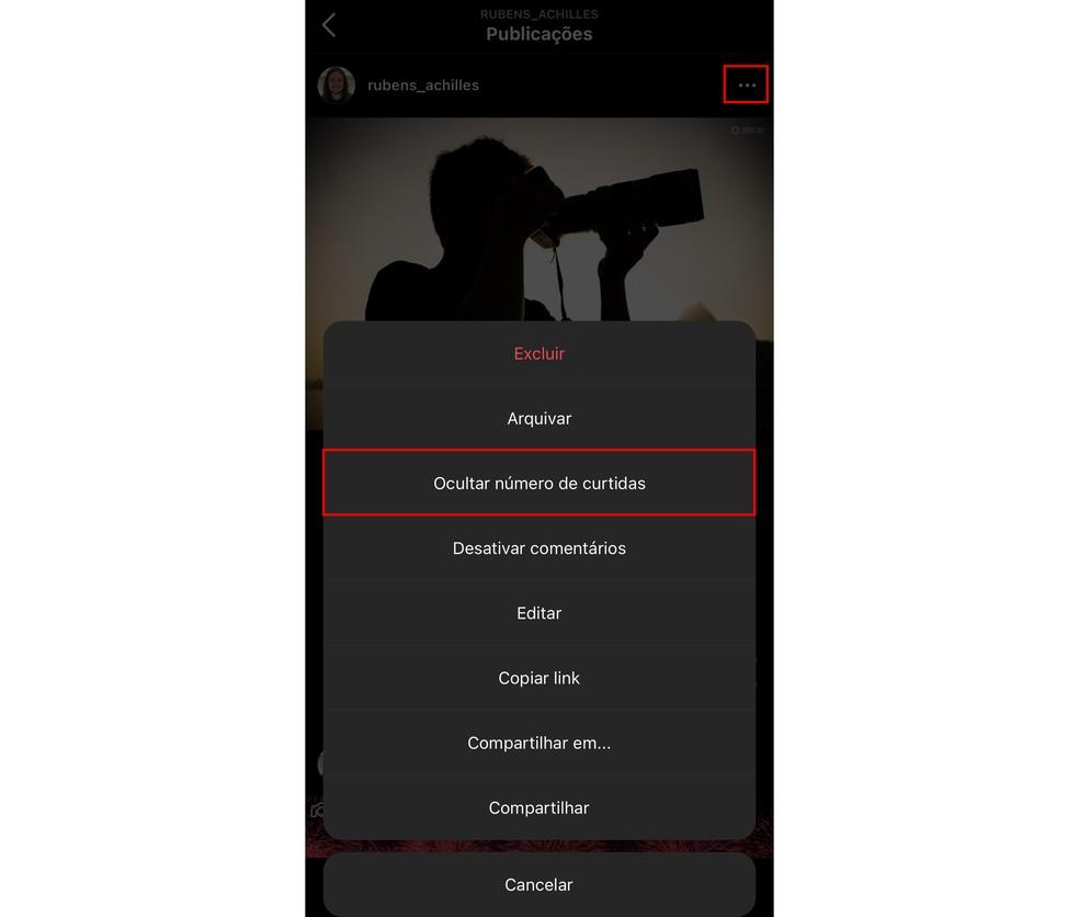 Tirar curtidas Instagram: também é possível ocultar o número de likes de uma publicação antiga — Foto: Reprodução/TechTudo
