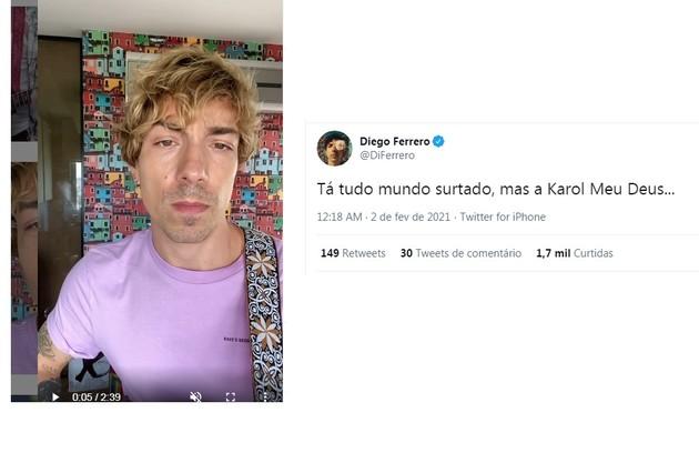 O cantor Di Ferrero se surpreendeu com as falas de Karol Conká da última segunda-feira (Foto: Reprodução)