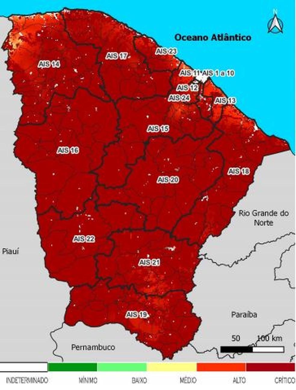 Risco de incêndios florestais no Ceará no segundo semestre de 2021. — Foto: Reprodução