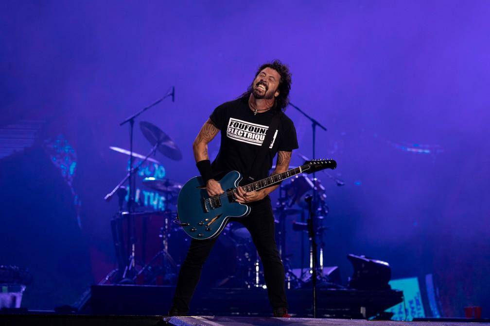 Dave Grohl, vocalista do Foo Fighters, no Rock in Rio 2019 — Foto: Marcelo Brandt/G1