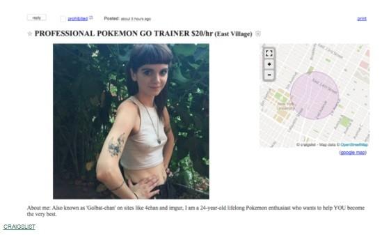 Anúncio de treinadora para capturar Pokémons