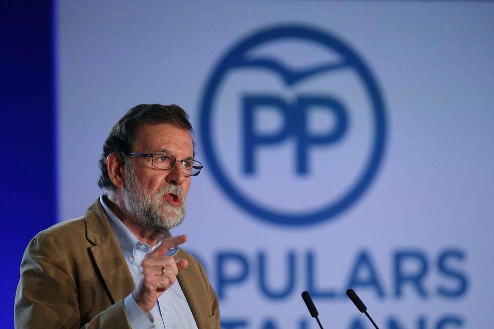 -  O chefe de governo espanhol, Mariano Rajoy, em Barcelona, em sua primeira visita à região da Catalunha desde que destituiu o Executivo separatista ca