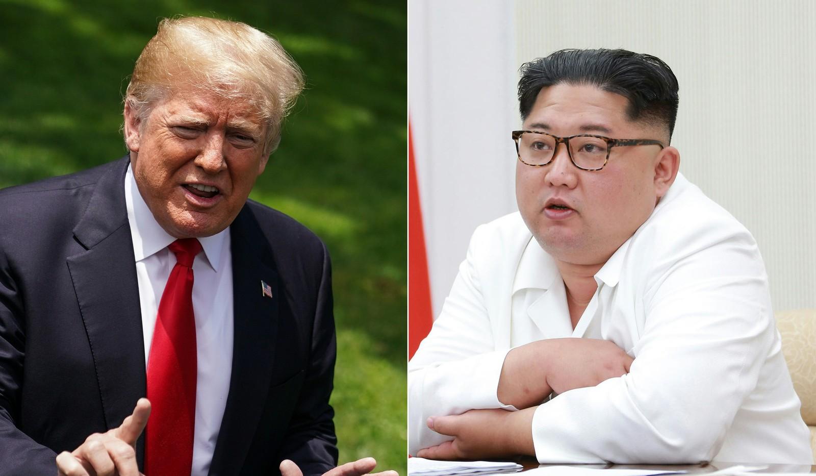 Combinação de fotos mostra presidente americano Donald Trump e o líder norte-coreano Kim Jong-un (Foto: Mandel Ngan/AFP/ KCNA via KNS)