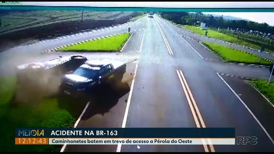 Viatura da Força Nacional se envolve em acidente com caminhonete, em Capanema