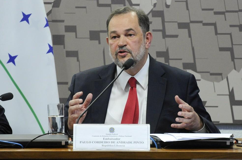 Embaixador do Brasil no Líbano, Paulo Cordeiro de Andrade Pinto, durante sabatida no Senado em 2018. — Foto: Geraldo Magela/Agência Senado