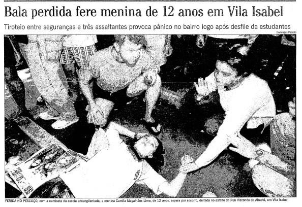 A foto de Camila após levar um tiro, na primeira página do GLOBO de 4 de setembro de 1998