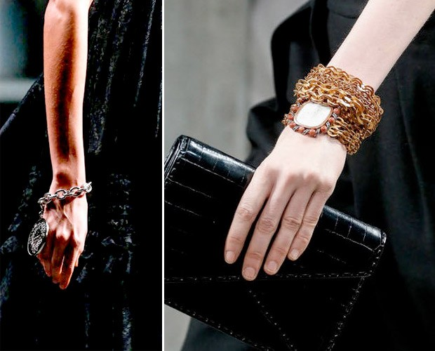 Close nas pulseiras da Givenchy e da Bottega Veneta (Foto: Getty Images)
