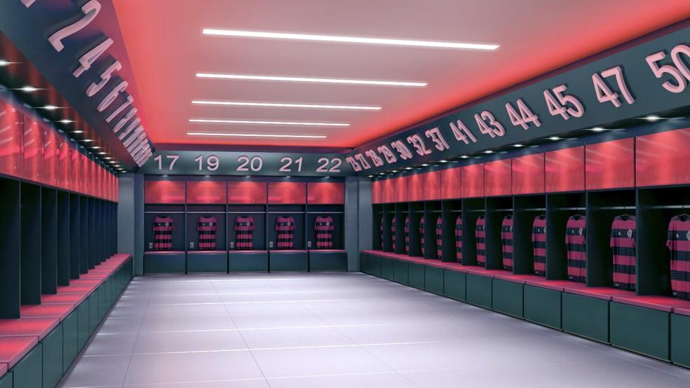 Novo vestiário terá 39 posições para jogadores (Foto: Divulgação Flamengo)