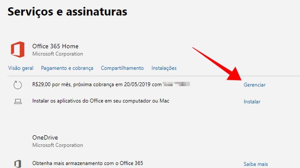 Gerencie uma assinatura do Office — Foto: Reprodução/Paulo Alves